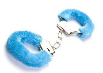 Blue fluffy handcuffs