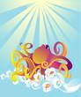 Octopus in sea foam, vector illustration