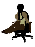 Female African American Office Illustration Silhouette