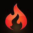 Vector Illustration of fire on abstract grid background