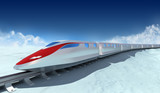 Train of the future with clouds on the background