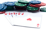 chips of poker and playing cards