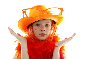 Dutch orange soccer supporter over white background