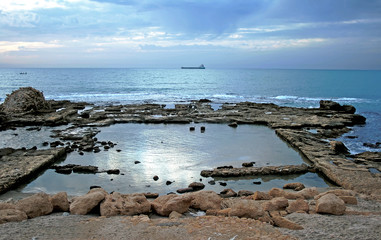 Detail of ancient city ashore Mediterranean sea in Caesarea