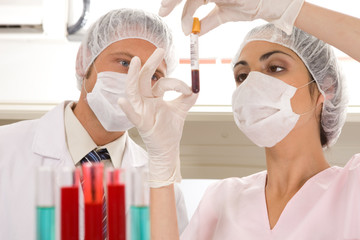 Laboratory technicians at work