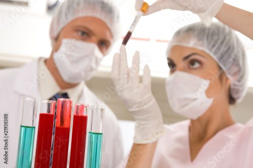 Two scientists at work