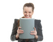 Portrait of a young businesswoman holding a folder