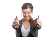 Business woman gesturing a thumbs up sign