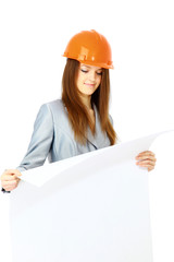 attractive lady architect a over white background.