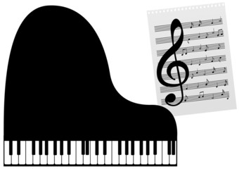 Illustration of a piano and a music-sheet
