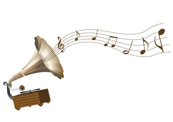 Illustration of a grunge gramophone and a score