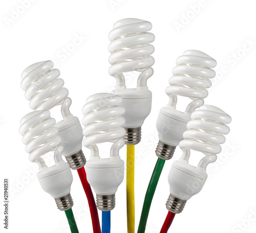 Bright Ideas Fluorescent Light Bulbs attached to colored cables