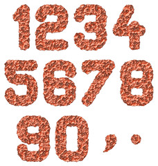 isolated rusted numbers on white background