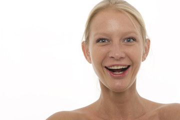 young beautyful caucasian woman smiling and looking at camera