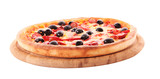 Pizza with olives on wooden plate isolated on white.