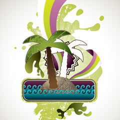 Designed summer banner with palm tree