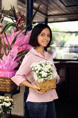 small business owner: woman and her flower shop