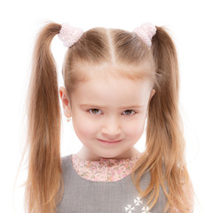 Portrait of beautiful preschool child with ponytail