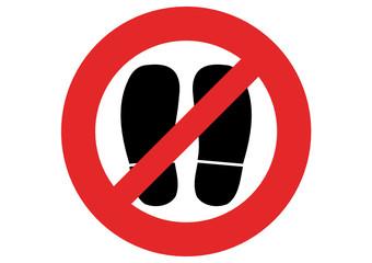 Verbotsschild Schuhe