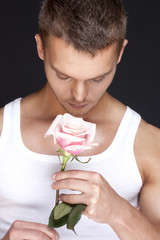 men with the pink rose