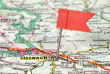 Eisenach, Germany - flagged map