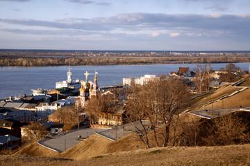 Nizhny Novgorod: embankments of romantic city, river Volga.