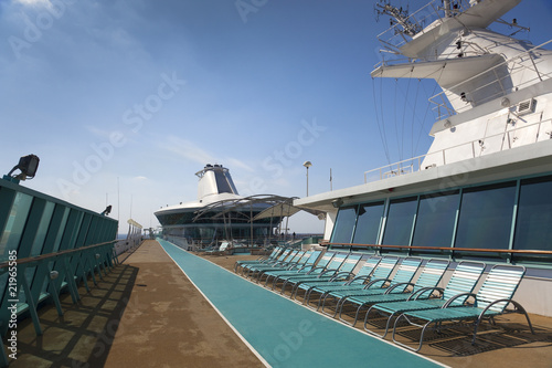 top deck of cruise ship - 21965585