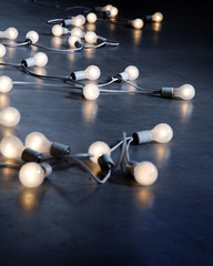 Long string of energy saving lightbulbs