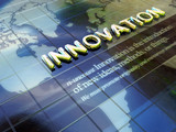 Innovation 3D concept gold text blue background poster