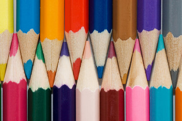 Close up of color pencils with different color