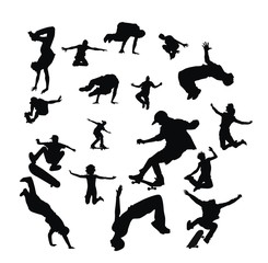 Set active children vector silhouettes