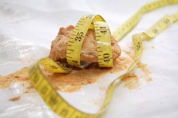 slice of soya and measuremet tape