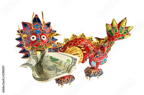 Chinese enameled dragon with American dollar in mouth.