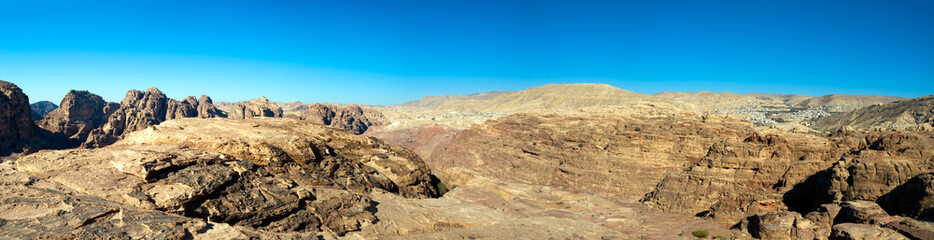 Petra panorama with temple and tombs