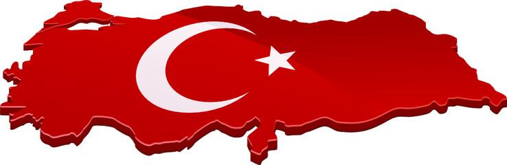 Carte de la Turquie 3D drapeau (détouré)