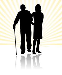 social help to elder man silhouette