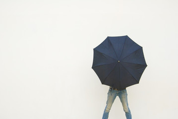 hiden with umbrella