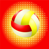 Red voleyballs and haftone