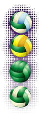 Green voleyballs and haftone