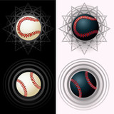 Black and white baseballs