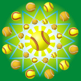 Yellow baseball and backgrounds