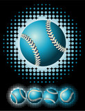 Blue baseball and halftone