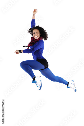 Female dancer jumping, isolated