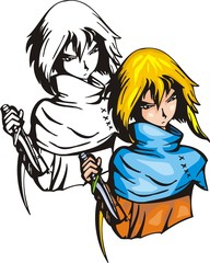 Assassin with knife.Anime fighters.