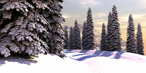 Snowy Winter Mountains sunrise