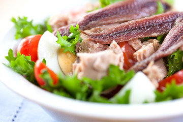 Salad with tuna and anchovy