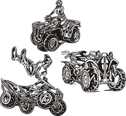 In drawing three quadbikes are represented. ATV Riders.
