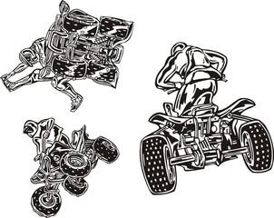 Three racers on the quadbikes.  ATV Riders.