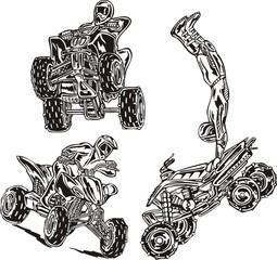 In drawing three quadbikes.  ATV Riders.