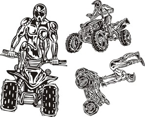 The racer on a quadbike tries to carry  ATV Riders.